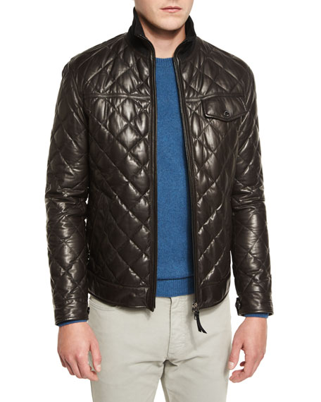 Ermenegildo Zegna Quilted Leather Down Jacket, Chocolate