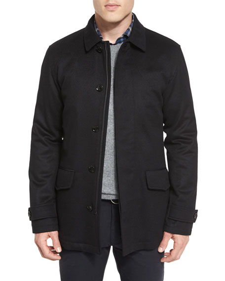 Ermenegildo Zegna Wool/Cashmere-Blend Car Coat, Black