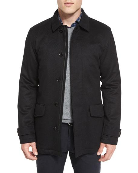 Ermenegildo Zegna Wool/Cashmere-Blend Car Coat, Black