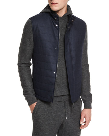 Ermenegildo Zegna Wool/Cashmere-Blend Quilted Vest, Navy