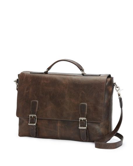 Logan Antique Leather Flap Briefcase