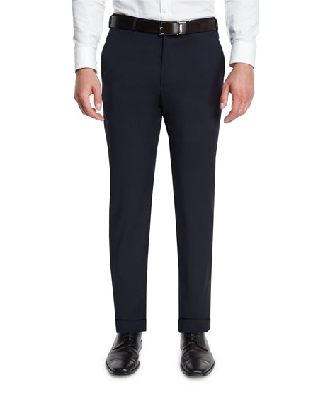Basic Flat-Front Wool Trousers, Navy