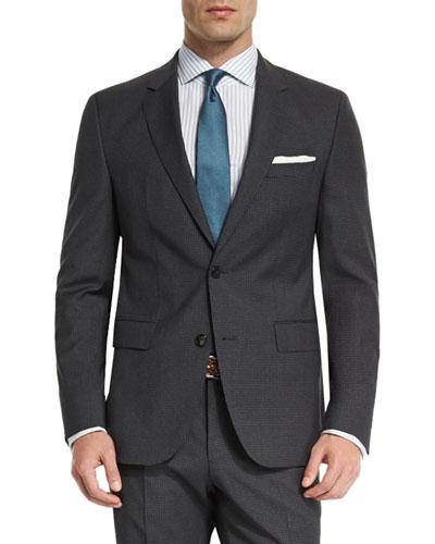 Huge Genius Mini-Check Slim-Fit Basic Suit, Navy