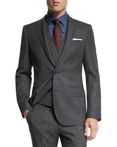 Huge Genius Slim Birdseye Three-Piece Suit, Charcoal