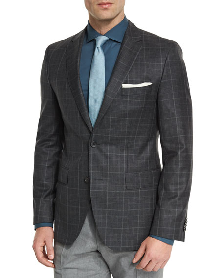 BOSS Jeen Plaid Two-Button Wool Sport Coat, Charcoal
