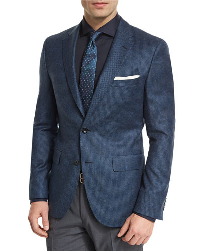 Jayson Houndstooth Two-Button Wool Sport Coat, Navy