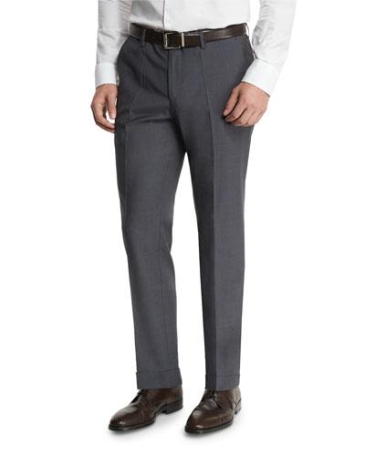 Genesis Slim-Fit Wool Trousers, Gray