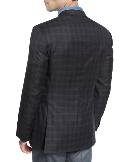 Plaid Wool Two-Button Sport Coat, Brown