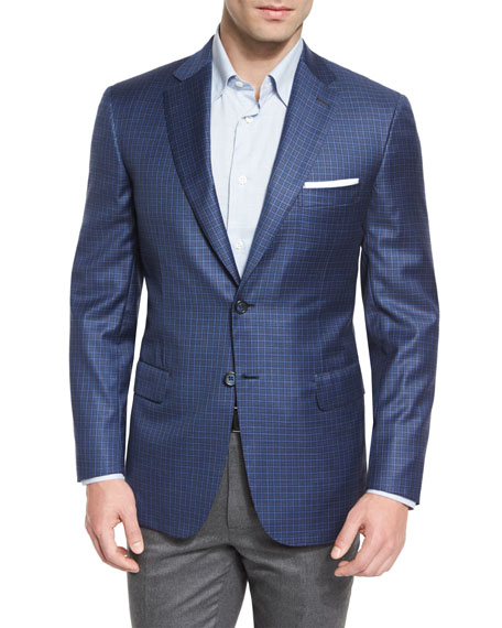 Box-Check Wool Two-Button Sport Coat, Blue/Gray