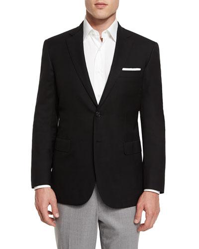 Twill Two-Button Blazer, Black