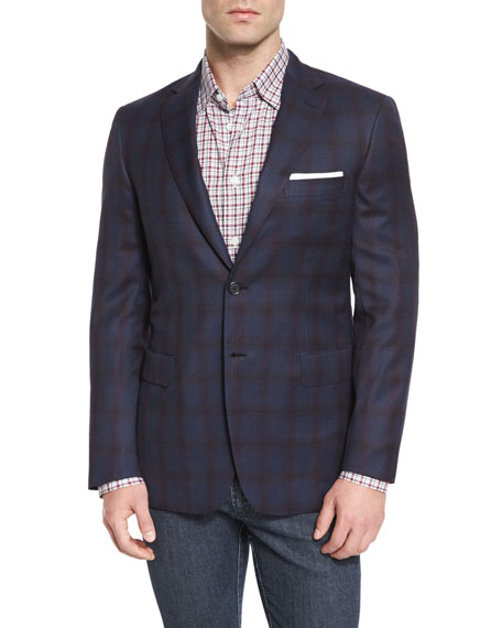 Windowpane Tic Two-Button Sport Coat, Navy