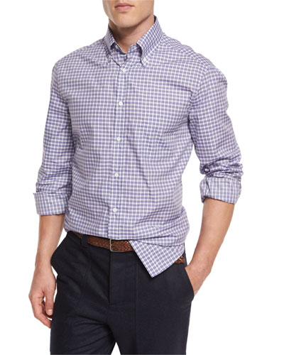 Basic-Fit Twill Check Sport Shirt, Purple
