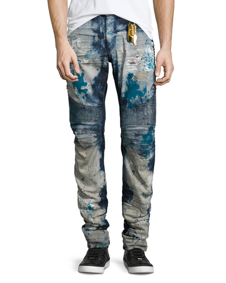 Robin's Jeans Distressed Slim-Fit Moto Jeans, Blue
