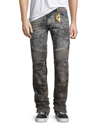 Flap-Pocket Slim-Fit Biker Jeans, Gray