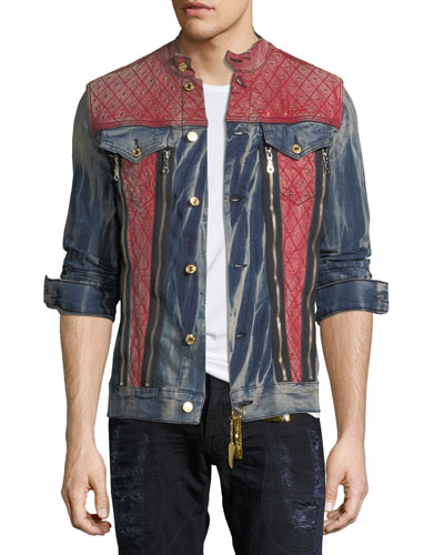 JEAN JACKET WITH RED SHOULDE