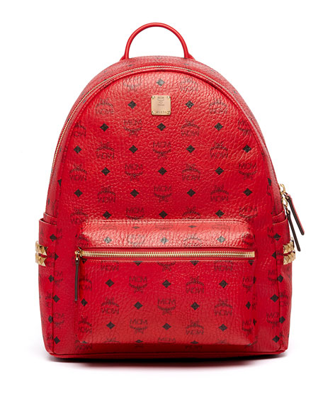 Mcm stark men 39 s side stud medium backpack ruby red for What does mcm the designer stand for