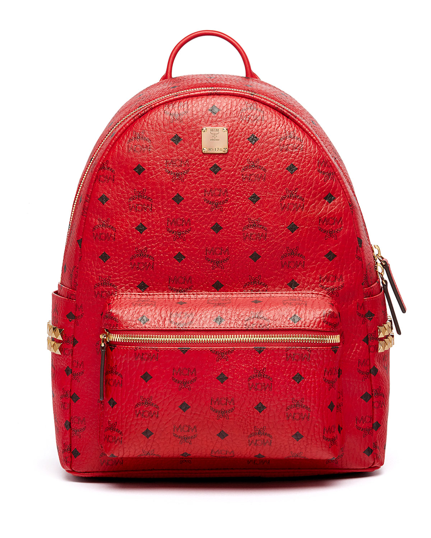 729ad6c862f8 MCM Stark Men's Side Stud Medium Backpack, Ruby Red | Neiman Marcus