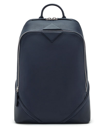 Duke Men's Napa Leather Medium Backpack, Navy