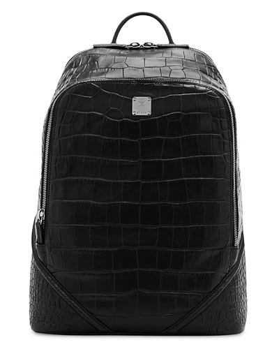 Duke Luxus Men's Crocodile-Embossed Medium Backpack, Black