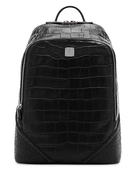 MCM Duke Luxus Men's Crocodile-Embossed Medium Backpack, Black