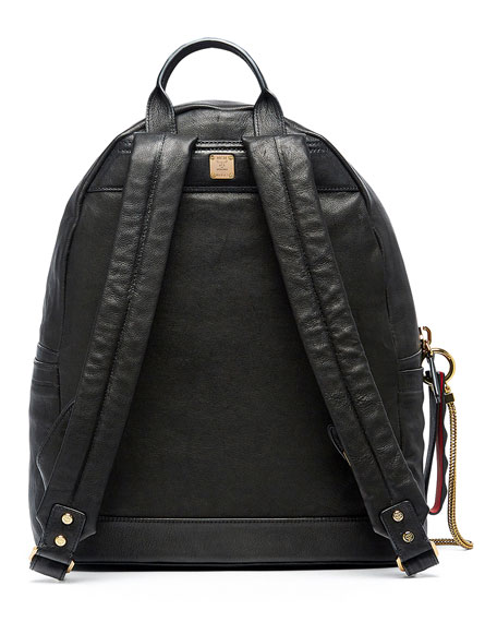 Stark Men's Leather Insignia Backpack, Black