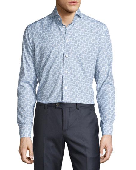 Eton Paisley & Dot Long-Sleeve Sport Shirt, Blue