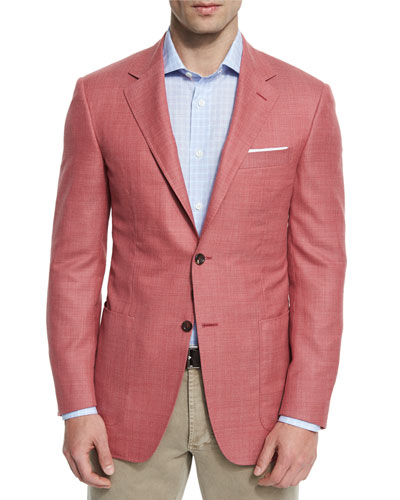 Hopsack Wool Two-Button Sport Coat, Red