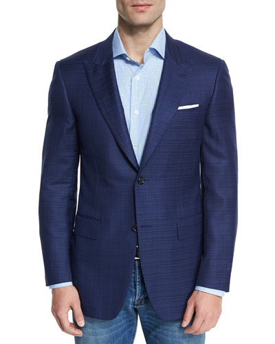 Sienna Contemporary-Fit Textured Sport Coat, Navy
