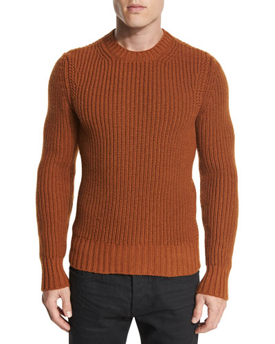 Fisherman Ribbed Crewneck Sweater, Burnt Caramel