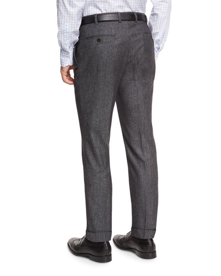 Flat-Front Trousers, Charcoal