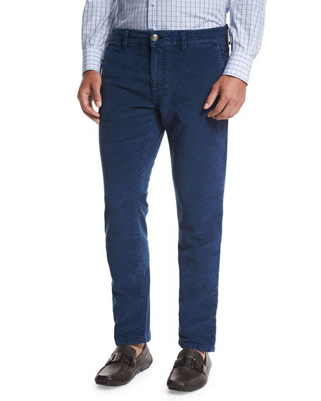 Isaia Moleskin Five-Pocket Pants, Blue