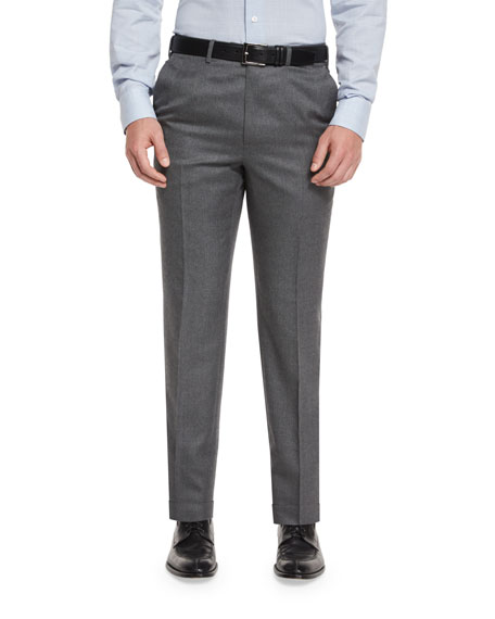 Flat-Front Twill Trousers, Gray