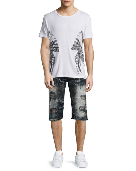 Distressed Slim-Fit Faded Denim Shorts, Black