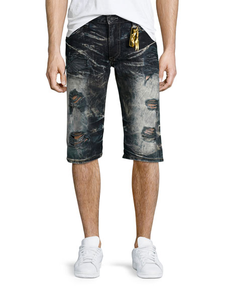 Robin's Jeans Distressed Slim-Fit Faded Denim Shorts, Black