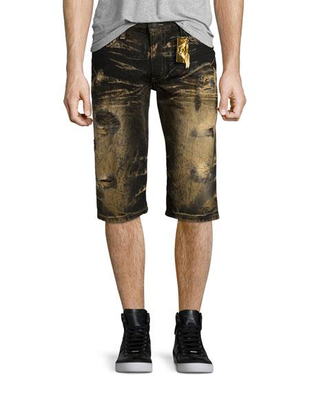 Robin's Jeans Bleach-Dyed Distressed Denim Shorts, Black