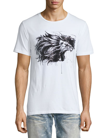 Embellished Lion Logo T-Shirt, White