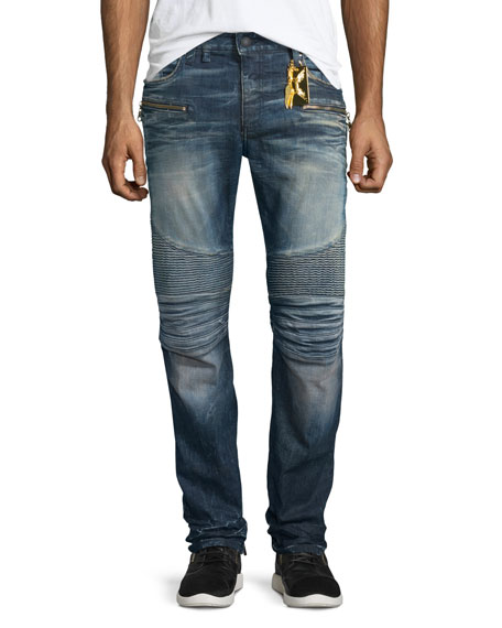 Racer Ribbed Moto Jeans, Blue