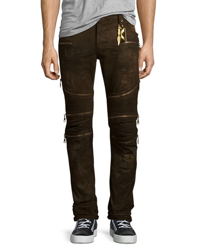 Distressed Zip-Detail Moto Jeans, Black