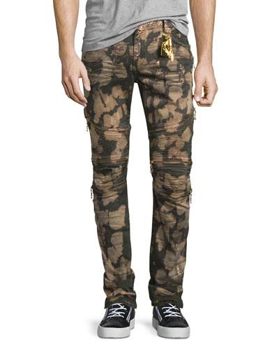 Dirty Metallic Bleach-Wash Moto Jeans, Bronze