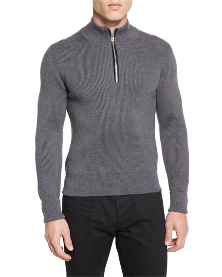 tom ford merino wool fine rib quarter zip sweater gray. Black Bedroom Furniture Sets. Home Design Ideas