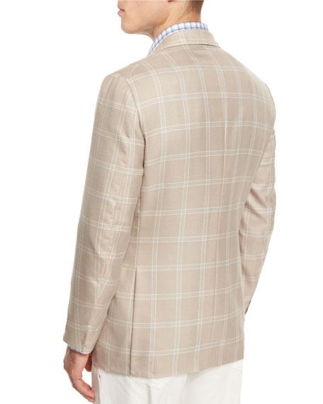 Gregory Windowpane Two-Button Sport Coat, Tan