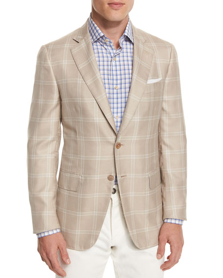 Gregory Windowpane Two-Button Sport Coat, Tan