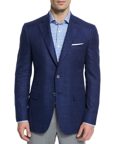 Gregory Textured Two-Button Sport Coat, Blue