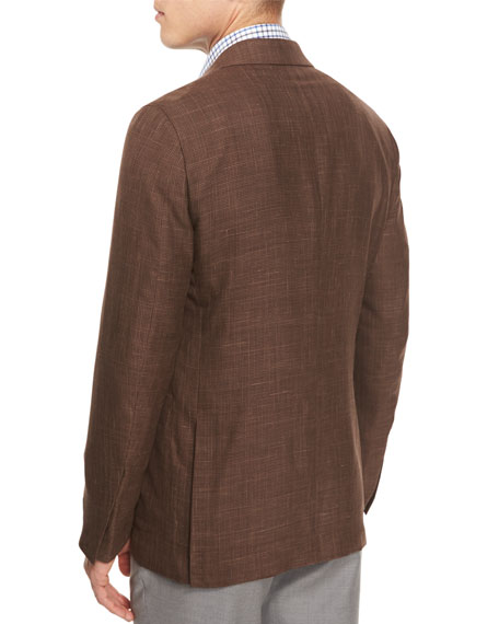 Capri Check Two-Button Sport Coat, Brown