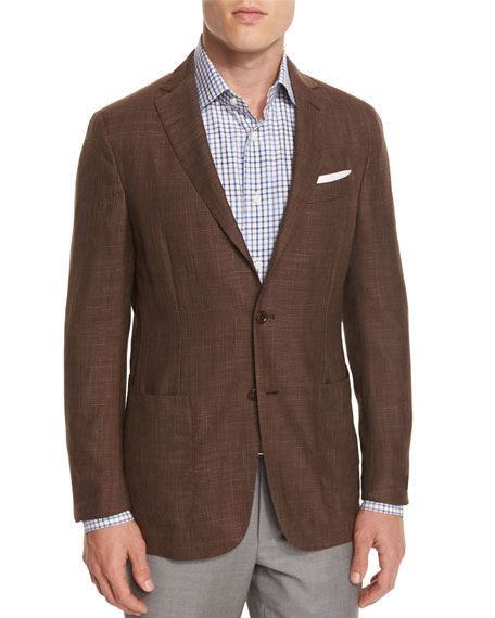 Ermenegildo Zegna Capri Check Two-Button Sport Coat, Brown