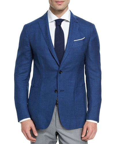 Capri Check Two-Button Sport Coat, Blue