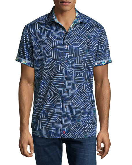 Robert Graham Colonel Geo-Pattern Short-Sleeve Sport Shirt, Blue