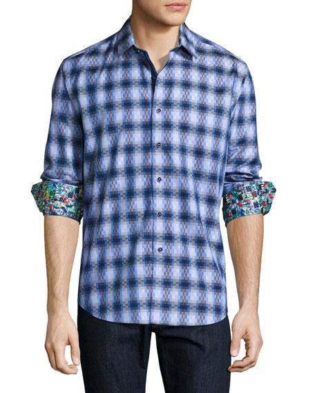 Robert Graham Aeronautics Geo-Print Sport Shirt, Blue