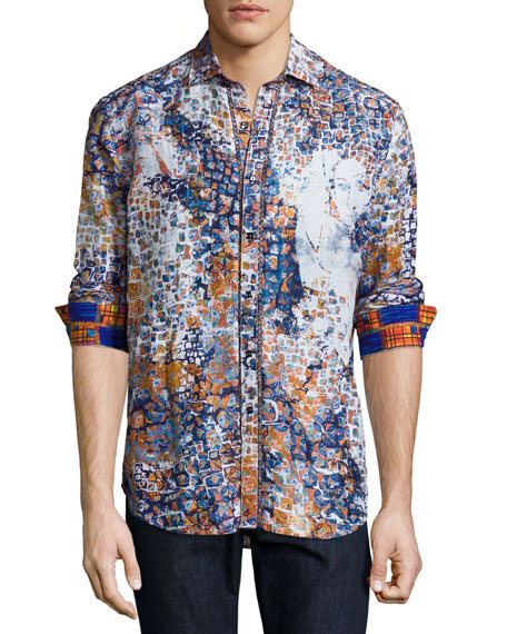 Robert Graham Limited Edition Tile-Print Sport Shirt, Blue