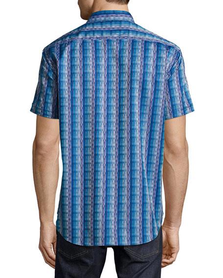 Geometric-Print Short-Sleeve Sport Shirt, Blue